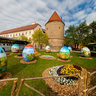 Easter eggs in front of Zagreb cathedral