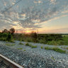 sunset on railway