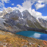 Twin Lakes of Laguna Quesillacocha, Huayhuash, Peru