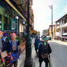 Three Red Dao Women In Cau May Street Sapa