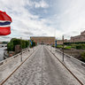 Norrbro in Stockholm – Flags of Sweden and Norway flying halfmast.