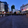 the twilight scene of Shibuya Station intersection