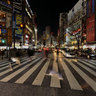 the night view of Shibuya Station intersection under power saving