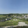 The public Garden of Fougeres with a nice view on the Castle of Fougeres 24156x12078 Pixel