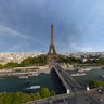 Eiffel tower, paris, aerial footage, 360