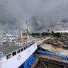 Traditional wooden boats. Old port, Makassar, Sulawesi.