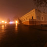 Odessa in the fog, the Archaeological Museum, night photography of Odessa