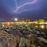 Platamon Port at Night Summer Thunderstorm Greece
