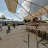 Replica of FARMAN 4 aircraft at the Aviation festival in Riga