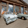 Volga GAZ-21 - iconic Soviet automobiles at the SPILVE airport in Riga, Latvia