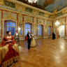 Baroque dance reenactors at the Golden Hall in Rundale Palace, Latvia
