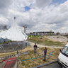 Tent construction - preparations for the beatification of John Paul II in Warsaw, Poland